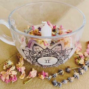 Zodiac Crystal Floral Tea Cup Candle